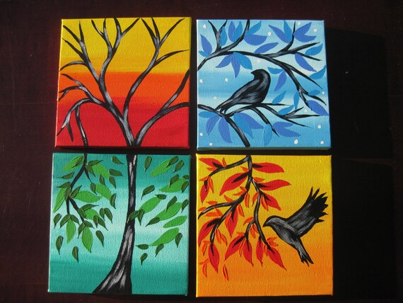 Tiny Bird Paintings On Bright Colorful Colourful Canvas