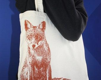 Fox Tote Bag, Fox Bag, Tote Bag, Market Bag, Market Tote, Farmers Market Tote