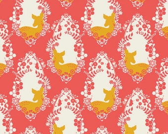 Cherished Deer Bergamot, Art Galley Fabric Sweet as Honey Collection by Bonnie Christine, Modern Designer Deer Pink Orange Fawn