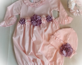 Girl Take Home Outfit, Pink Purple Layette Gown Cap, Newborn Gown, Baby Coming Home Oufit