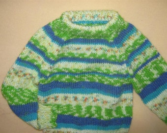 hand knit baby  sweater 6-12 months - fair isle, lightweight