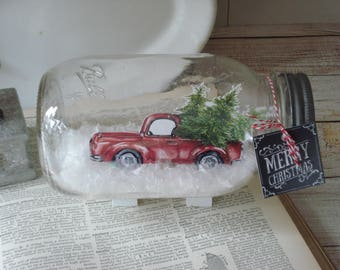 Mason Jar Dry Snow Globe Red Pickup Truck with Christmas trees Snowglobe Centerpiece