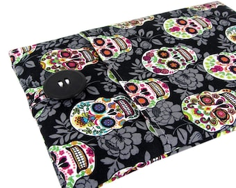 """Women's Laptop Sleeve 15.6"""" - Custom Sized To Your 15 Inch Laptop - Padded With Pocket, Sugar Skull Fabric"""