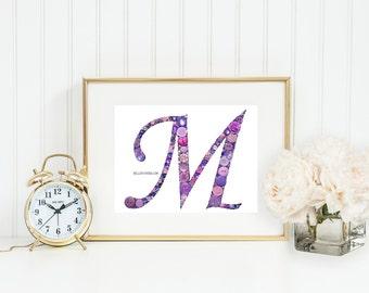 Nursery Initials | Baby Monogram | Wedding Monograms | Nursery Wall Art | Button Monogram | Button Letter | Button Monogram | Baby Girl Gift