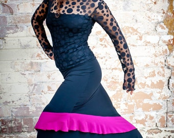 Black ANTONIETA Flamenco skirt with magenta frill