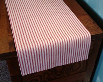 Cotton Ticking Stripe Table Runner -  Different Lengths and Colors Available
