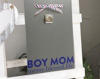 Boy Mom - Mother's Day Gift - Mom of Boys - Magnetic Board - Message Board - Picture Frame - Farmhouse Decor - Son Gift to Mom