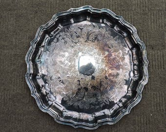 Vintage Wm. A. Rogers Round Silver Platter or Vanity Tray EP Brass