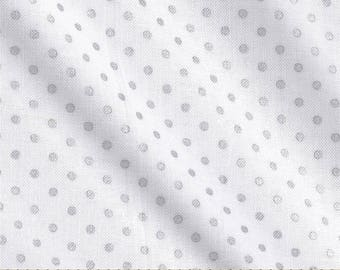 Silver White Polka Dot Cotton Fabric