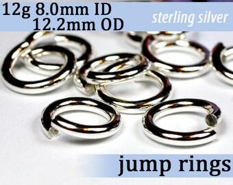 12g 8.0mm ID 12.2mm OD sterling silver jump rings -- 12g8.00 jumprings 925 links