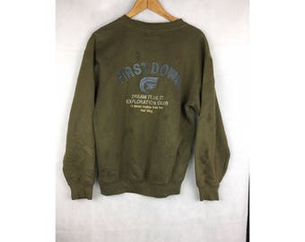 FIRST DOWN Long Sleeve Sweatshirt Pull Over Big Spell Out Embroidered Logo Medium Size Sweatshirt
