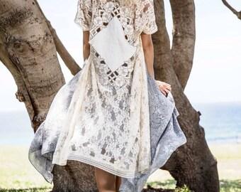 Vintage Dream Lace Maxi Kimono Gown Wrap, Gypsy Wedding