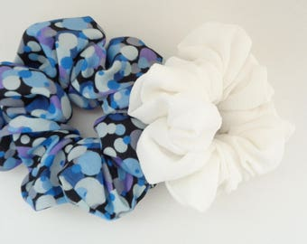 A set of two scrunchies Blue and white hair Scrunchie, hair scrunchie ,Chouchou, hair accessories, handmade by ScrunchiesCo
