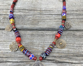 Beaded Necklace with Replica Pendants from Viking Graves