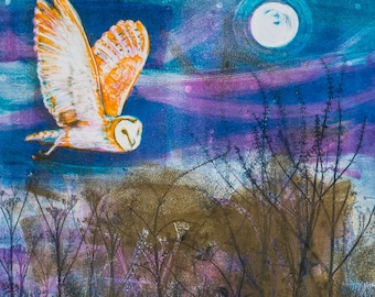 Soft Wings Under the Moon, a mounted digital print of a barn owl flying by moonlight, taken from an original ink monoprint.