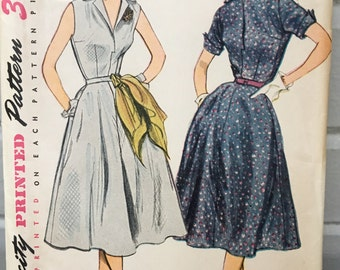 vintage Simplicity 3876 pattern, 1950s women's dress sewing pattern,  size 14, bust 32, one piece dress, 1952