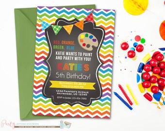 Art Birthday Invitation, Art Party Birthday Invitation, Rainbow Birthday Invitation, Chalkboard Birthday Invitation