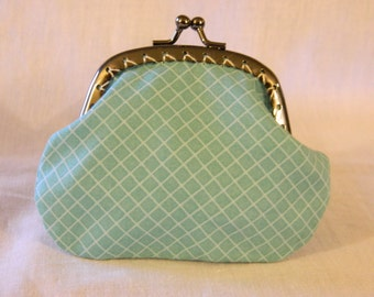 Blue Checkered Coin purse with kiss clasp