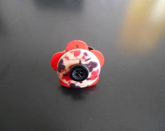 Red and Brown flowers ring