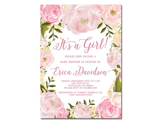 Shabby style pink roses baby shower invite watercolor flowers like this item filmwisefo Gallery