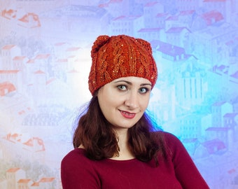 Hat with pom pom - Hand knitten hats - a cap of manual binding - winter hat - orange hat - hat for girls- hat with pom pom for girl
