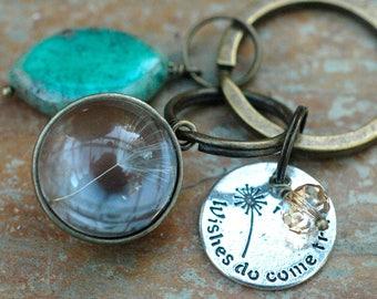 Dandelion Seed Keychain; Wishes Come True Keychain; Inspirational; Possibilities; Gemstone Keychain; Antique Bronze Keychain; Quote Charm