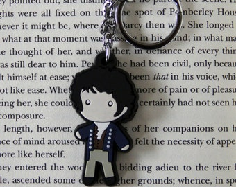 Mr. Darcy Figure Keychain Charm Necklace Jane Austen Pride & Prejudice Book Gift