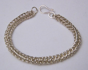 Sterling Silver Box Link Chain Maille Bracelet