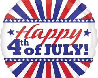 "18"" Happy 4th of July Mylar Balloon: Wedding, Shower, 1st Birthday, Baby, Sports, Photo Prop, Picnic, BBQ, July 4th, Summer, USA, America"