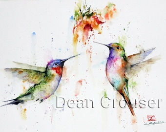 HUMMINGBIRD PAIR Watercolor Bird Art Print by Dean Crouser