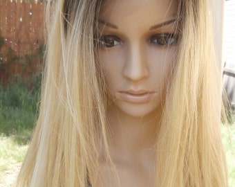 Ombre Dark Roots To Blonde Lace Front Wig human hair blend