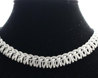 BNN # 3 Vintage Signed Monet Teeth Sculpted White Enamel Choker Necklace