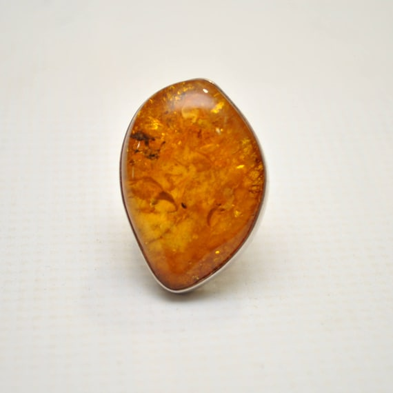 Sterling Silver Honey Amber Sz 8.5 Ring #9296