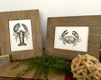 SET of Black Lobster and Crab Prints