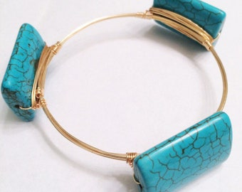 Gold Wire Wrapped Bangle with Turquoise Beads, Bourbon and Boweties Inspired