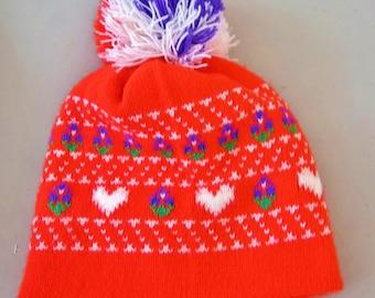 Vintage 1970's  Womens Fair Isle Neon Red Purple White Heart Wool Knit Pom Pom Winter HiPPiE HipTeR Ski Snowboarding Hat