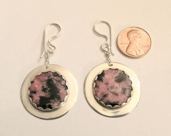 Exquisite Rhodonite 926 Sterling Silver Earrings