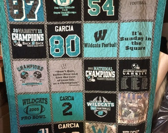 Tshirt Quilt Custom Made - Memory Quilt Made From 9 - 49 t shirts