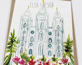 Salt Lake LDS Temple - Watercolor Temple 8x10  print by Elsa Ferre