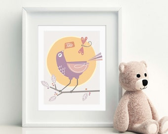 Nursery Art Print, Children's Room Decor, Whimsical Wall Art For Baby, Bird Print // NEW FRIENDS
