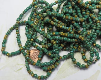 Aged Turquoise Picasso Tube Beads Mix, 1 Strand - Item 3327
