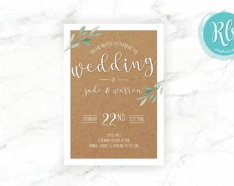 Wedding A5 INVITATIONS // Rustic Watercolour Nature Theme with envelopes
