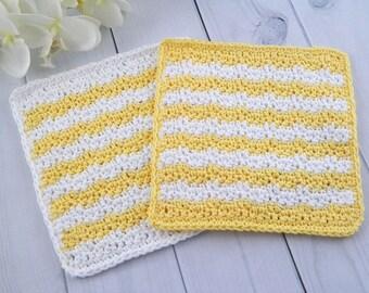 Washcloth Set, Handmade Crochet Washcloth, Dishcloth, Cotton Washcloth Set of 2