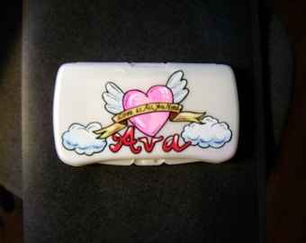 Baby Wipes Travel Case - Heart Tattoo - Handpainted and Personalized