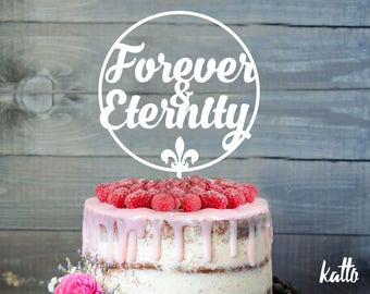 Anniversary cake topper- Silhouette Wedding Cake Topper- Personalized wedding Cake Topper- Forever and Eternity cake topper