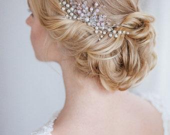 Bridal Hair Comb, pink, Crystal Comb, Wedding Comb, Wedding Hair Accessory, Hair Accessories, Hair Accessories, barrette, comb