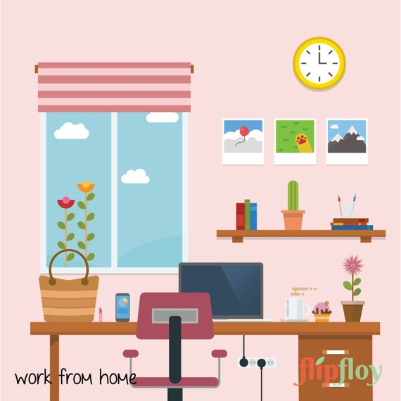 Workplace In A Room Instant Download - 17 Office Supplies From Home ...