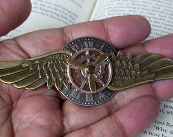 Steampunk Aviator Pin (P753), Aviation Medal, Brass Wings and Clockface, Propeller and Gears, Tie Tack Backing