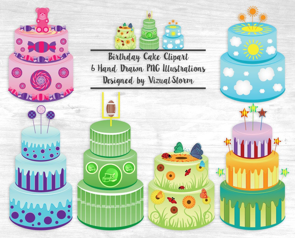 Birthday Cake Clipart Party Cakes Flowers Butterflies Football Candy
