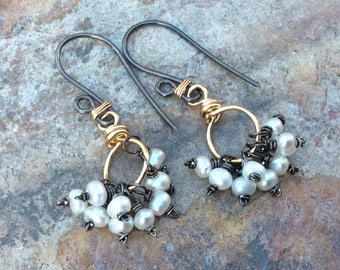 PEARL earrings, Pearl jewelry, mixed metals, JUNE birthday, June Birthstone, Pearl cluster earrings, silver and gold filled, petite